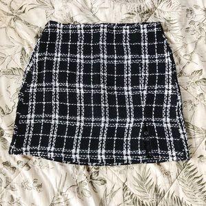 Plaid Tweed Skirt Black and White